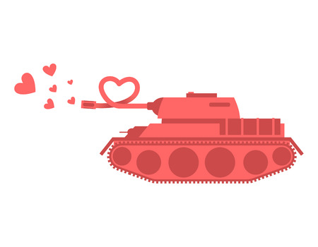 barrel bomb: Pink tank of love. Shot heart. Peace military equipment. Army bomb for lovers. curved barrel