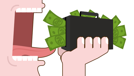 excess: Man eating money. Destruction of suitcase with cash. Open mouth with tongue and teeth. Consumption of dollars. Elimination of budget