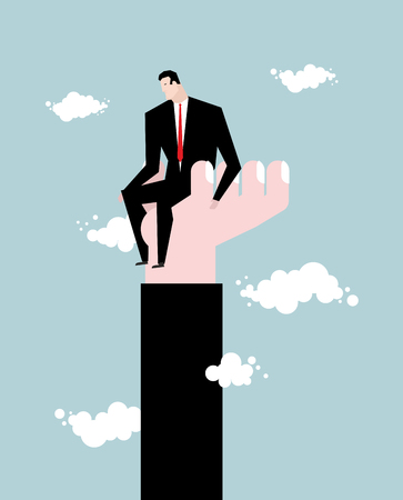 sky rise: Businessman  standing on hand. Rise of man. Help from boss. Protege director. Help in work. Manager climbs the career ladder. Sky and clouds Illustration