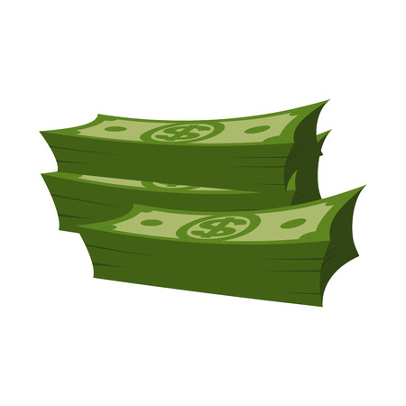 stack of cash: Stack of money on white background. Lot of cash. pile of dollars isolated Illustration