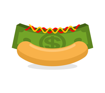 stack of cash: Money hot dog. Bun and stack cash. Financial fast food. Morning breakfast for wealthy. Dollars with mustard and ketchup Illustration