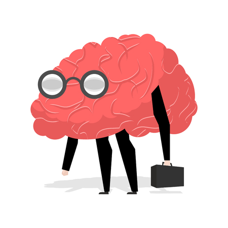 egghead: Brain glasses. Smart professional. Very cute manager. Egghead with ase. Business scientific figure. Central body of human nervous system Illustration