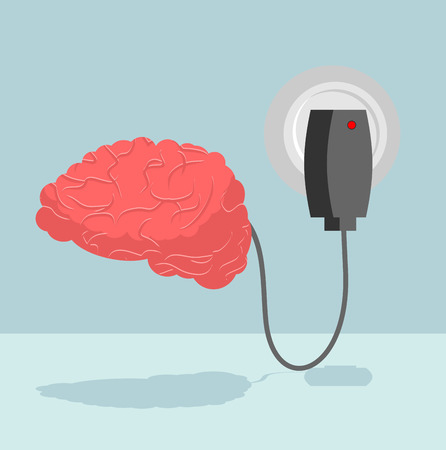 cerebrum: Charge brain. Charger for cerebrum. marrow is charged with new ideas and thoughts. Energizes battery Central Authority of human nervous system Illustration