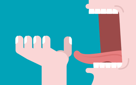 Open mouth and hand. Illustration consumption. Preparation for meal. Man opened his mouth to eat. Teeth and tongue Illustration