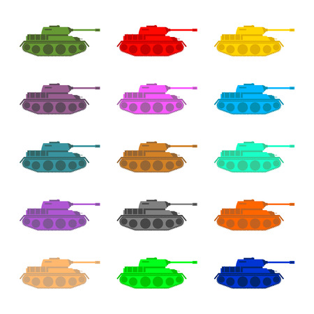 vehicle combat: Set multicolored Tanks. Military equipment on white background, armored combat vehicle, tracked with cannon armament. Color Army trucks