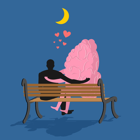 date night: Man and brain sitting on bench. Lovers looking at moon in night dark sky. Date night. Heart symbol of love. Romantic illustration for valentines day