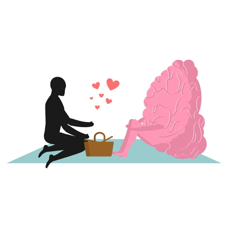 central park: Brain at picnic. date in Park. Mind and eople. Rural jaunt lovers. Meal in nature. Plaid and basket for food on  lawn. Man and central organ of nervous system. Romantic illustration