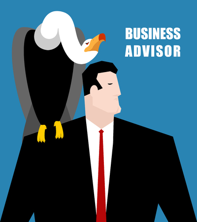 advisor: Business Advisor. Vulture sits on shoulder of businessman. Carrion Bird suggests a solution. Grief and man in business suit