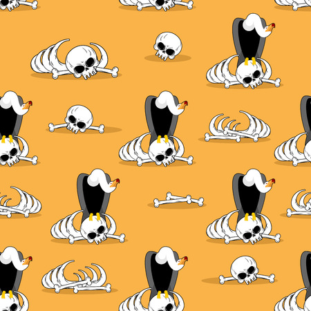 carrion: Vulture on bones in desert seamless pattern. Dead desert background. Griffon gnaw skeleton ornament. Condor and skeleton background. Griffon vulture is eating carrion. Scavenger birds of prey.