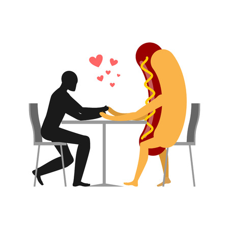 irish woman: Lover in coffee room. Man and hot dog is sitting at a table. Food in restaurant. Fast food in  dining room. Romantic date in public place. Romantic meal illustration