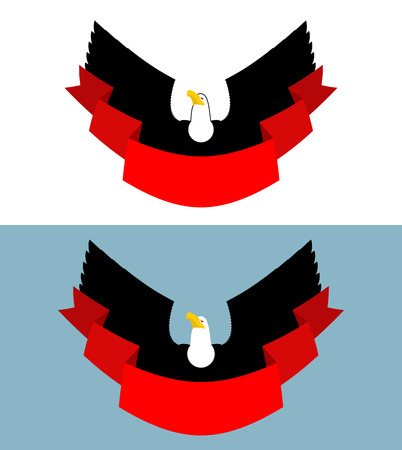 bird of prey: Eagle and red ribbon. Bird of prey for symbol, emblem of sports team. Element for posters