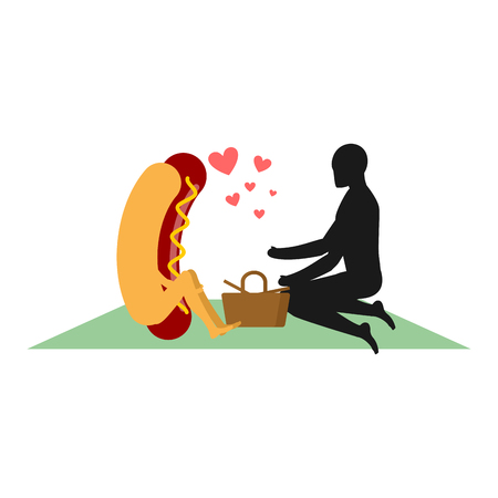 hot date: Hot dog on picnic. date in Park. Fast food and people. Rural jaunt in love with food. Meal in nature. Plaid and basket for food on lawn. Man and  muffin with sausage. Romantic meal illustration