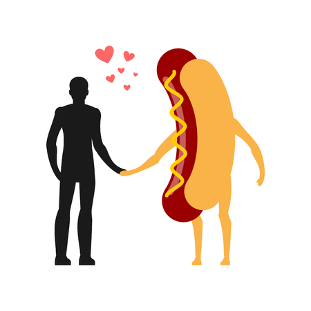 meat lover: Enamored in hot dog man. Man and fast food. Lovers holding hands. Romantic meal illustration Illustration