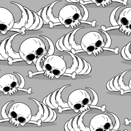 barebone: Remains of skeleton seamless pattern. Skull and bones ornament. Deadly background. Barebone texture