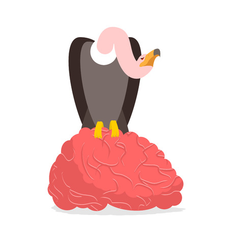 griffon: Vultures and brain. Griffon bite mind. Condor and entral nervous system. Griffon vulture eating. Scavenger birds of prey Illustration