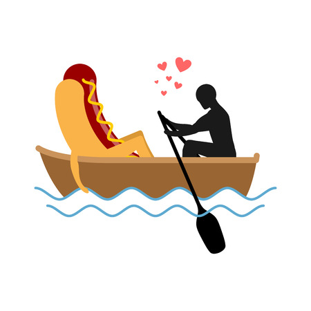 meat lover: Man and hot dog in boat ride. Lovers of sailing. Man rolls fast food on gondola. Appointment of food in boat on pond. Romantic meal illustration