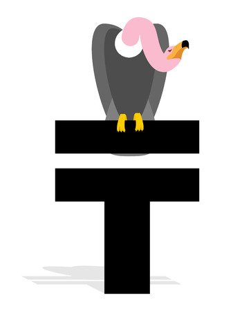 grief: Vulture and Kazakhstan Tenge. Grief and a sign of money in Kazakhstan. Scavenger birds of prey and the national currency in Kazakhstan. Business illustration