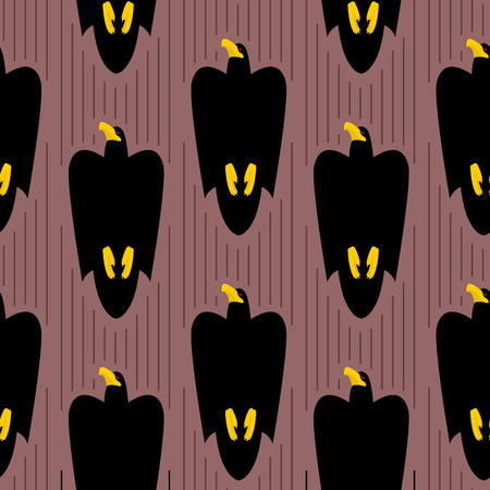 rushes: Hawk rushes into sky seamless pattern. Black Eagle flies ornament. Background of birds of prey. Flight of falcon