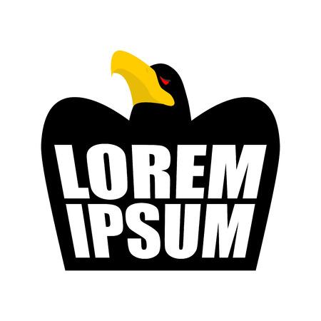 a large bird of prey: Black Eagle logo. Black Crow sign. head of hawk emblem. bird of prey wit large beak on white background