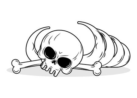 discovered: Remains of skeleton. Bones and skull on white background. death Illustration