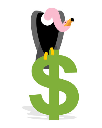 griffon: Vulture and Dollar. Condor, Griffon and sign of money. Scavenger birds of prey. Business illustration