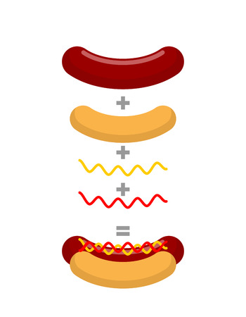 deli sandwich: Recipe for hot dog. Production of hot dogs. Mathematical formula for fast food. Bun plus sausage, plus mustard and ketchup Illustration