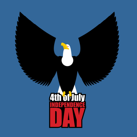 july 4: White Eagle. Independence Day of America. Logo for national holiday of July 4