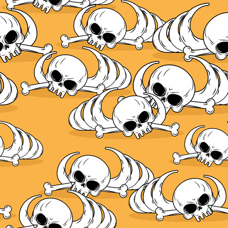 barebone: Dead desert seamless pattern. Remains of skeleton in sand background. Skull and bones pattern. Deadly background. Barebone texture