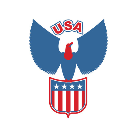 swooping: USA eagle Shield. Birds of prey in olors of American flag. Falcon sits on arms