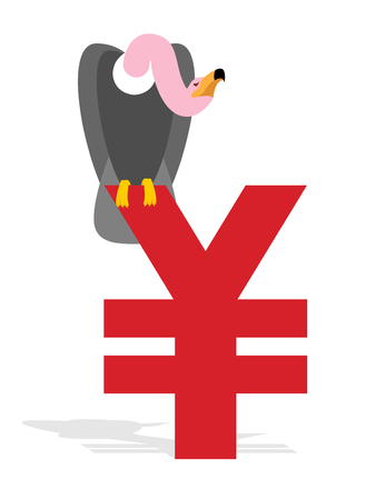 scavenger: Vulture and Chinese Yen. Grief and sign of money in China. Scavenger birds of prey and national currency in China. Business illustration