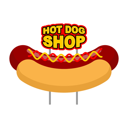 hot dog bun: Hot dog shop signboard. Big juicy sausage and bun name for fast food restaurant. Traditional American food Illustration