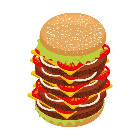 Molto grande hamburger. Alta hamburger alto succosa. tortini Enorme panino e tagliare rotolo. Grande cibo fresco succosa. Ingredienti: bistecca e cipolle, formaggio e pomodori