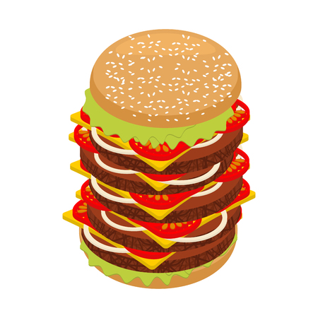 oversize: Very large hamburger. High juicy tall burger. Huge sandwich patties and cut roll. Big Fresh juicy food. Ingredients: steak and onions, cheese and tomatoes Illustration