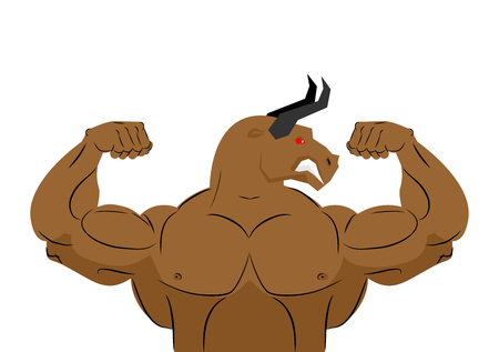 angry bull: Angry bull strong athlete.