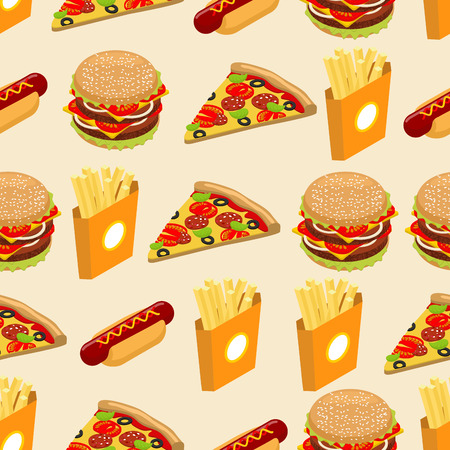 italian sausage: Fast food seamless pattern. Hot dog background. Juicy big hamburger. Hot french fries in paper box. Italian pizza with cheese and sausage and tomatoes. Delicious food texture