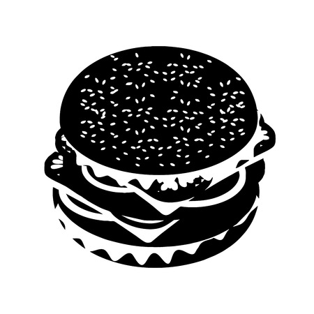 patties: Hamburger silhouette sign. Fast food in flat style. Sandwich of patties and cut roll. Fresh juicy food. Ingredients: steak and onions, cheese and tomatoes