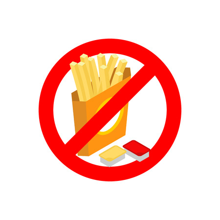 noxious: Stop?French fries. Ban fatty fast food. Sliced ??potatoes in paper box. Emblem against food. Red prohibition sign. Prohibited noxious meal