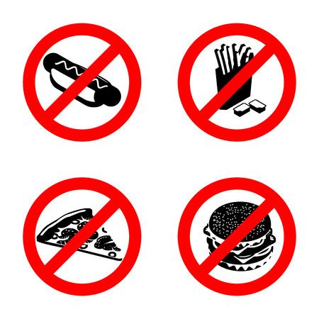 unhealthy food: Ban fast food sign. Stop unhealthy food.
