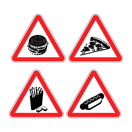 hot dog bun: Set warning signs fast food. danger sign. Harmful food. It contains lot of cholesterol. Big hamburger in red triangle. Piece of pizza flat style. Hot dog bun with sausage. French fries silhouette. Collection of road signs