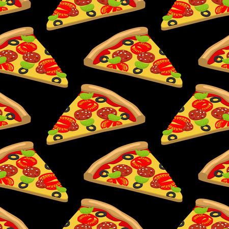 savory: Pizza pattern. Piece of tasty pizza on black background. Texture of food. Ornament Italian food Illustration