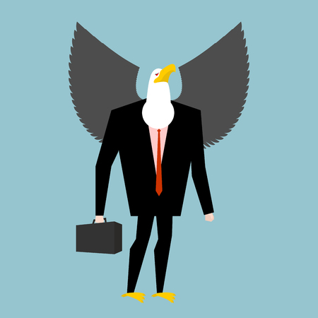 avian: Eagle businessman. business bird in suit. Winged black manager in suit. Bald eagle with wings and case. Avian boss. Animal businessman isolated
