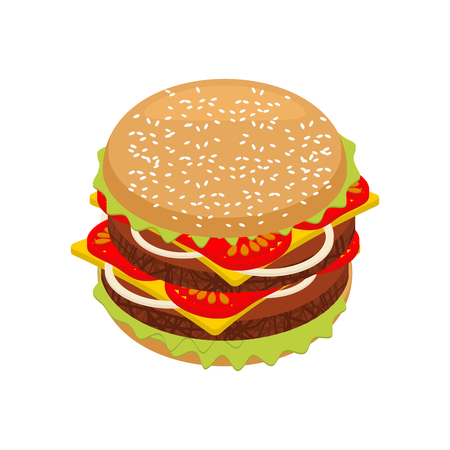 patties: Hamburger isometrics. Sandwich of patties and cut roll. 3d fast food. Fresh juicy food. Ingredients: steak and onions, cheese and tomatoes