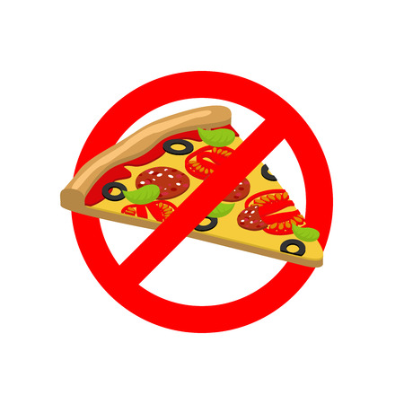 crossed out: Stop Pizza. Forbidden fast food. Crossed out slice of pizza. Emblem against Italian food. Red prohibition sign. Ban harmful food Illustration