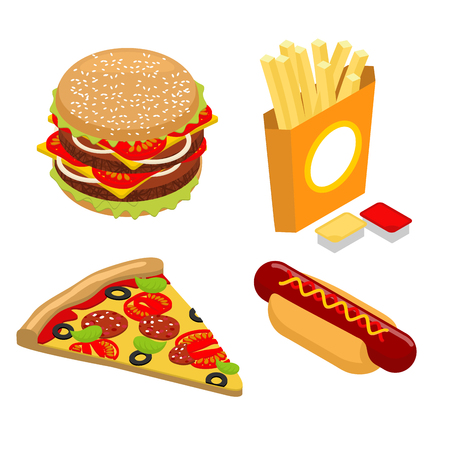 hot dog bun: Set Fast food isometrics. Big juicy hamburger and chop. French fries in paper box. Ketchup and cheese sauce. Vezhey piece of pizza with sausage and tomatoes. Delicious hot dog. Bun and sausage with mustard.