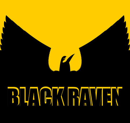 spread wings: Black raven on yellow background. Big Bird. Spread wings. Silhouette Crow of  in sunset