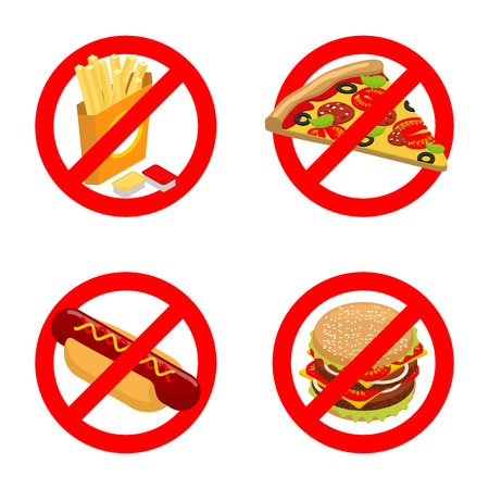 can not: Stop fast food. Diet sign. Ban unhealthy food. It is forbidden to eat French fries. Emblem against pizza. Anti sign of hot dog. You can not juicy hamburger. Prohibiting red sign Illustration