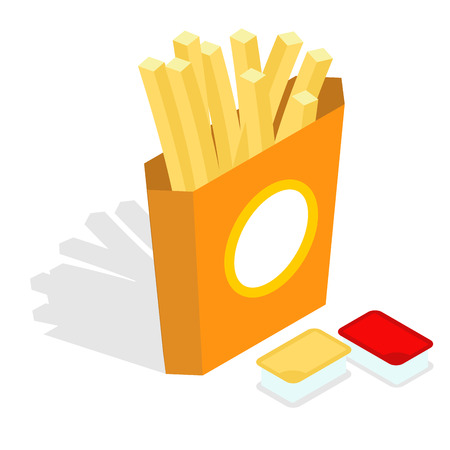 sauces: French fries isometrics. Slices of roasted potatoes in paper box. 3d Fast food. Fresh juicy yellow potatoes. Set sauces, condiments: ketchup and cheese sauce Illustration