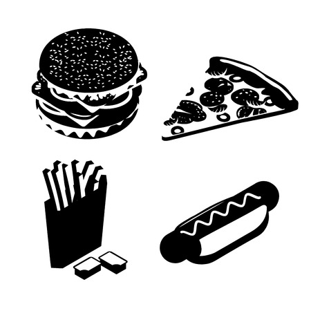 hot dog bun: Set Fast food silhouette. Big juicy hamburger and chop. French fries in paper box. Ketchup and cheese sauce. Vezhey piece of pizza with sausage and tomatoes. delicious hot dog. Bun and sausage with mustard