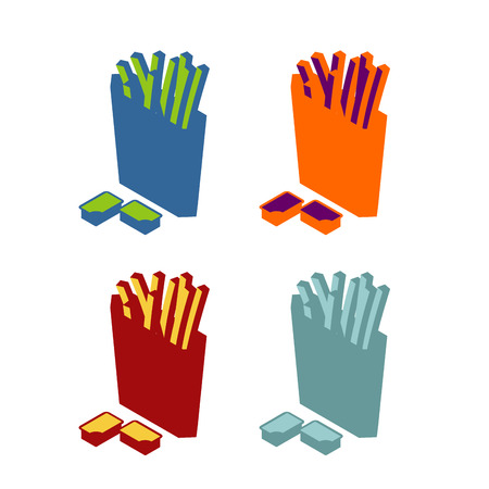 fried potatoes: French fries flat sign. Icon fast food. Multicolored symbol unhealthy food. Crowbar fried potatoes in paper box
