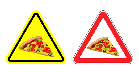 dangers: Warning attention sign pizza. Dangers yellow sign fast food. Delicious slice of pizza in red triangle. Set of road signs against harmful food Illustration